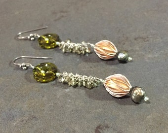 36 - Swarovski, sterling silver and pearl earrings, olive green