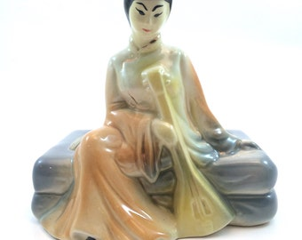 Vintage Ceramic Asian Woman with Lute Planter-1950s kitsch