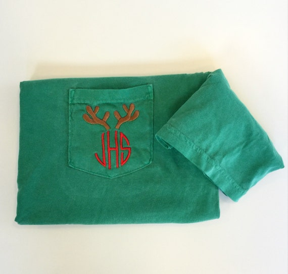 Short Sleeve Monogrammed Comfort Colors Reindeer Antler Holiday Shirt