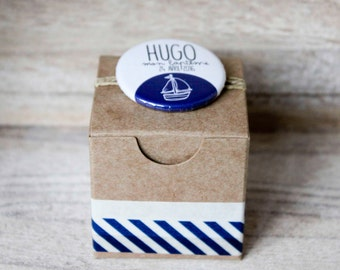 "Box à dragées, custom pin badge, invited gift baptism, wedding, anniversary: ""Bord de mer"""
