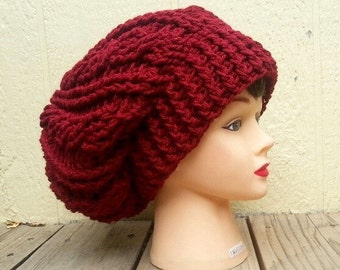 Red slouchy hat, crochet hat, womens beanies, red hat, slouchy beanie, fall hat, mens hat,  beanie hat, crochet hat