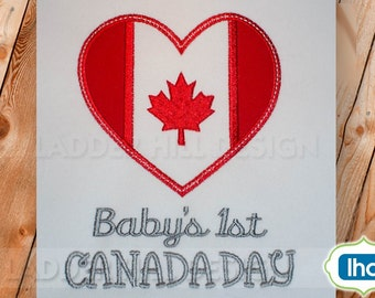 Babys 1st Canada Day -- Canada Maple Leaf Applique -- Canadian Embroidery Design -- Babys First Canada Day Embroidery Applique ID011