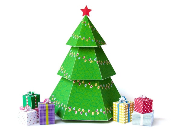 Diy christmas tree gift boxes diy holiday ornaments printable for 3d christmas decoration templates