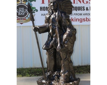Indian Chief With Shield & Spear in Full Headdress Native American Bronze Statue 6' Tall