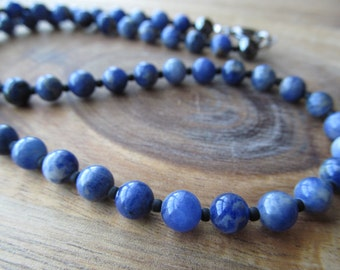 Men's Sodalite Necklace, Mens Choker, Mens Necklace,  Men's Beaded Necklace, Men's Necklace, Gift for Men, Men's Jewelry