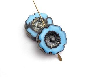 2 x 22mm Light and Dark Blue Hawaiian Flower Czech Glass Beads, Blue Flower Beads, Pansy Flower Beads, Hawaiian Flower FLW0183