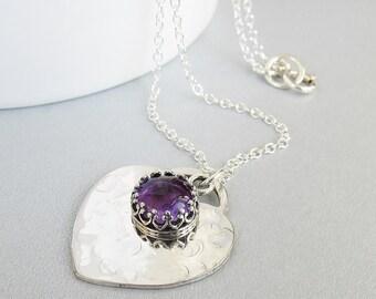 Amethyst Heart Necklace, February Birthstone, Heart Jewelry, Sterling Silver Heart Pendant, Be My Valentine, Heart Jewelry,Gift Idea