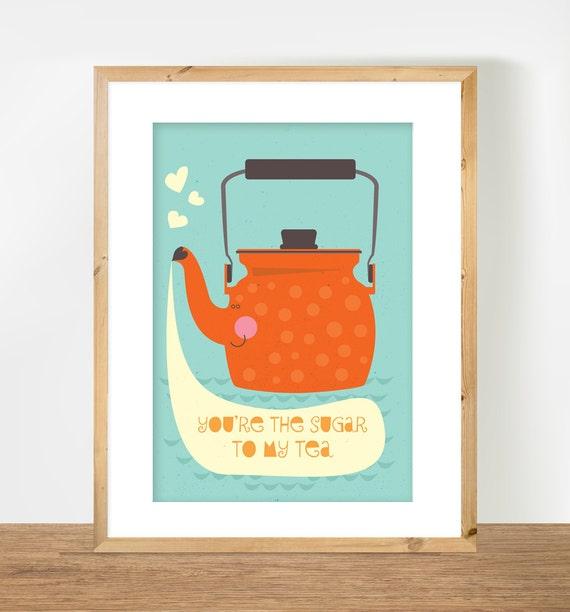 Scandinavian Teapot Print, Tea Print, Orange Teapot Illustration, Orange Nursery Art, Kitchen Decor, A3 Poster