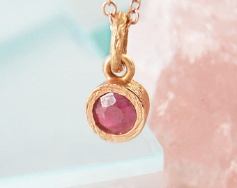 Rose Gold Necklace, Gold Gemstone Necklace, Ruby Necklace, July Birthstone, Birthstone Necklace, Round Pendant, Real Ruby Necklace, 925,Ruby