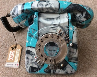 THE KING. Genuine GPO Phone covered in 100% cotton Elvis Presley material. This is a telephone for the real enthusiast.
