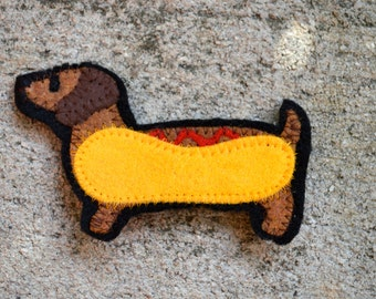 Dachshund Felt Pin - Hotdog Pin