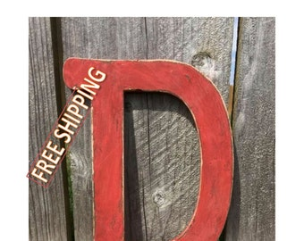 Distressed wooden letter D Gungsuh font Free Shipping! perfect for nursery decor, home decor, wedding decor, party decor, and party favors.