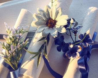sky-blue leaf napkin ribbons, napkin rings, housewarming party, handmade, wedding napkin, table decoration, shabby, flower napkin rings