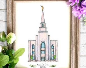 Kansas City Missouri Temple Watercolor Art Print- Personalized Gift, Wall Decor, Illustration, LDS Art, LDS Temple, Wedding Gift, Date