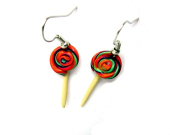 Polymer Clay Lollipop Earrings,Lolly Jewellery, Polymer Clay Food Earrings,  Multicoloured Candy Lollipop Earrings