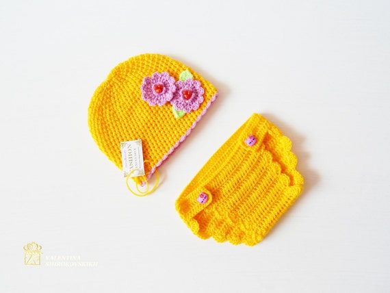 Newborn Crochet Set - Baby Girl Photo Prop - Infant Crochet Set, Newborn Crochet Pants and Hat, Newborn Pants Prop, Ready to Ship