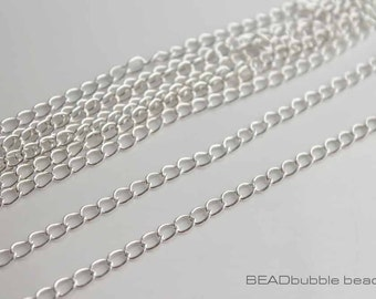 5mm x 4mm Silver Plated Curb Chain x 2 metres (CHA023)
