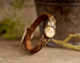Vintage map bracelet, brown bracelet, brown leather bracelet, adjustable bracelet, antique brass bracelet, genuine leather bracelet,