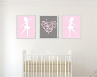 Ballerina Nursery Art Print, Baby Girl Ballet Wall Art Print, Girls Bedroom Decor, Ballerina and Heart - H217-Custom Colour