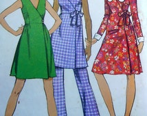 1970s Front Wrap Dress Pattern, Simplicity 9964 Junior-Petite pattern, Sewing Pattern, size 11, Bust 34, 70s Clothing, Hippie, Epsteam