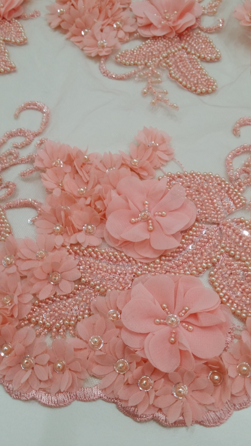 Pink lace fabric beaded luxury 3D lace fabric hand beaded