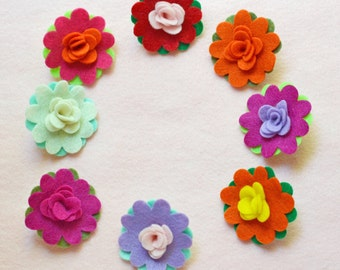 ADD ON: Pair of Two Large Felt Rosette Flower Embellishmets / Custom Colors Available /  Does NOT Include Banner