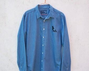 SALE! PIGEONS organic denim jeans shirt for men - gift for men