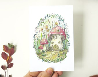 Postcard  Mushroom house in the garden illustration - eco paper