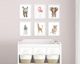 Safari Nursery Art - Nursery Prints - Baby Animal Prints - Childrens Art - Girls Room Wall Art - Boys Room Decor - Watercolor Print Set of 6