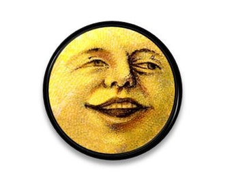 Dresser Knob - Man In The Moon Face - Yellow, Celestial, Smile - Pull, Drawer, Cabinet, Door - 115D10