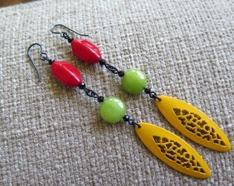 yellow earrings, yellow and red earrings, yellow and lime earrings, yellow and chartreuse earrings, long yellow earrings, modern earrings