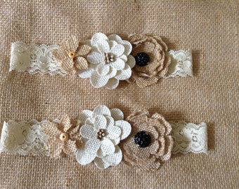 Bridal Garter Set- Burlap garter,Country Garter Set,wedding,