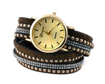 Chocolate Double Suede Wrap Watch
