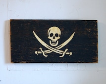 Pirate Wood Flag Sign - pirate sign - jolly roger sign - outdoor skull and sword sign - outdoor wooden flag