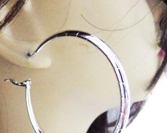 White Gold Plated HOOP EARRINGS 2.25 Inch Hoop Earrings Hypo-Allergenic Hoop Earrings
