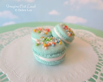Faux Macaron Set Aqua Mint with Sprinkles Birthday Celebration Fake Food Kitchen Prop