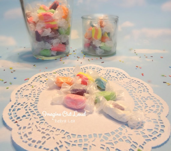 Fake Candy Faux Candies Pastel Salt Water Taffy Wrapped Kitchen Easter Bowl Fillers Display Food Prop Decor Party Wedding Favor