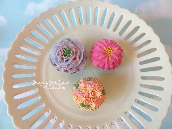 Fake Cupcake MINI Floral Buttercream Spring Garden Bouquet Set 3