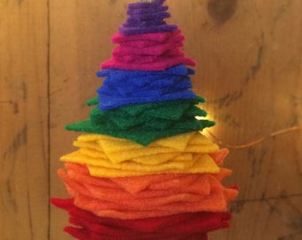 Rainbow Felt & Felted Wool Christmas Tree Ornament, stocking stuffer, hostess gift