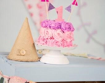 Cake topper, cake topper and number, number cake topper, pennant cake topper, cake flag