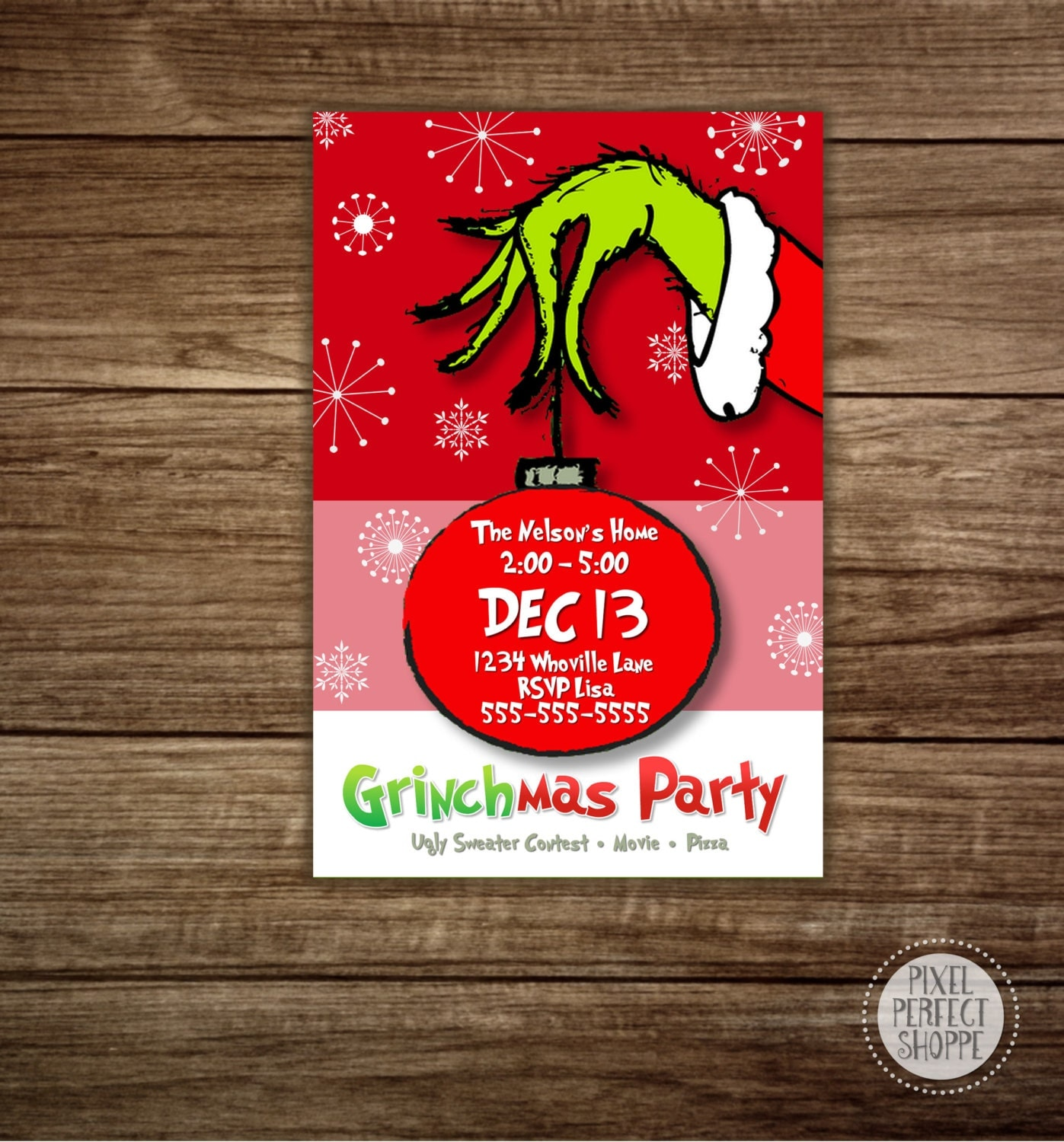 Christmas Holiday Party: Christmas Party Invitations Grinch Party By PixelPerfectShoppe