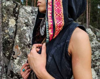 Black Hoodvest with colorful ribbons