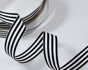 "7/8"" Grosgrain Stripe Ribbon by 50-yards, Black and White, AM10037"