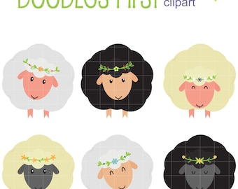 Flock Of Sheep Digital Clip Art for Scrapbooking Card Making Cupcake Toppers Paper Crafts