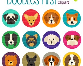 Dog Breeds Collage Sheets for Scrapbooking Card Making Cupcake Toppers Paper Crafts Digital Collage Sheet
