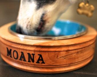 Dog Bowl - Hand Turned Wood