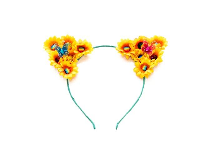 Sunflower Rainbow Cat Ear Headband