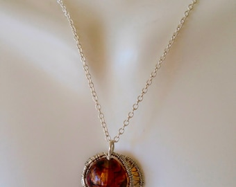 Baltic Amber Sterling Silver Weaved pendant