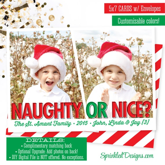 naughty or nice christmas cards funny christmas photo card. Black Bedroom Furniture Sets. Home Design Ideas
