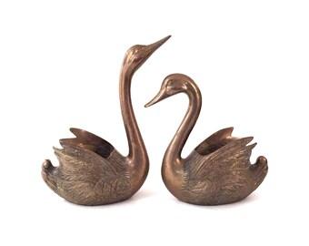 Large Vintage Solid Brass Swan Planters - Pair of Vintage Large Brass Swan Planters - Brass Swan Planter - Hollywood Regency Swan Planters